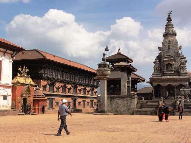 Durbar Square w Bhaktapurzez przed trzęsieniem ziemi.